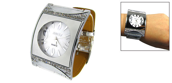 Silvery Rhinestone Water Resistant Faux Leather Band Watch