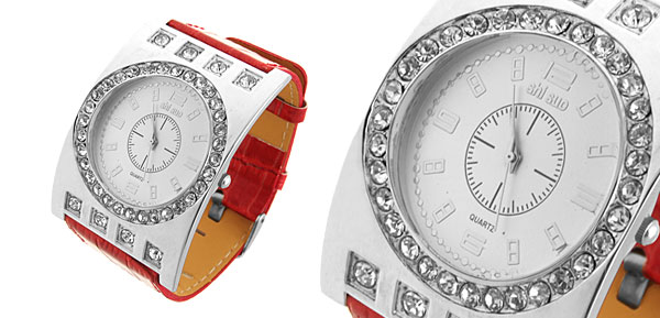 Fashion Red and Silver Watch Round Plate with Rhinestone