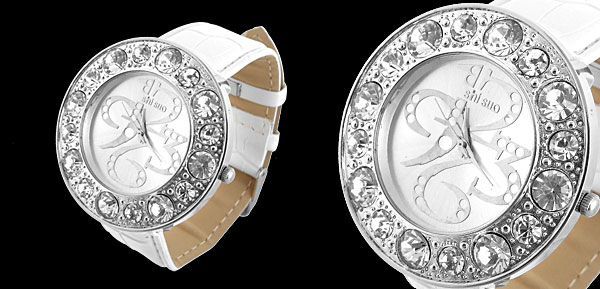 White And Silver Watch Round Plate with Rhinestone Diamond