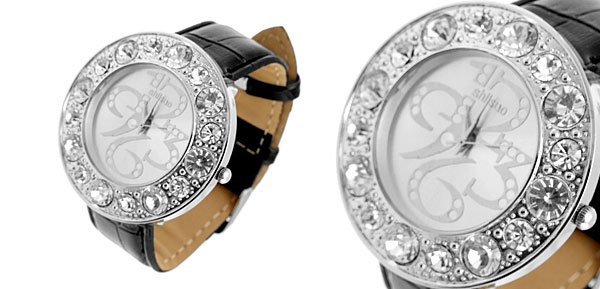 Black and Silver Watch Round Plate with Rhinestone Diamond