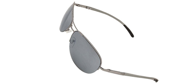 Aviator Gray Metal Frame Men Eyeglasses Sunglasses with UV400 Protection