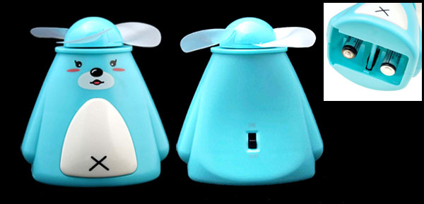 Mini Sky Blue Battery Powered Cartoon Pocket Personal Fan