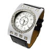 Fashion Black and Silver Watch Round Plate with Rhinestone Diamond
