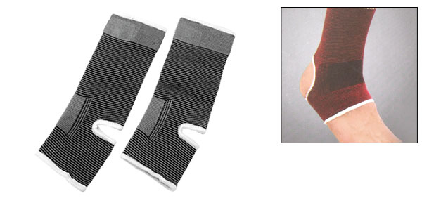 Gray Elastic Ankle Protector Band Pad Brace Supporter