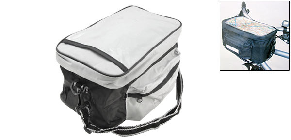 Black and Silver Bike Handlebar Trunk Bag Bicycle Pannier Rack Pack