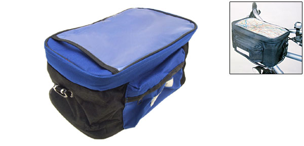 Black and Blue Bicycle Trunk Handlebar Bag Bike Pannier Rack Pack
