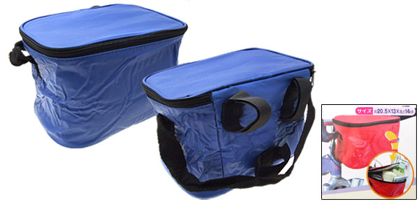 Folding Drink Lunch Bike Bicycle Rack Insulated Cooler Bag Blue