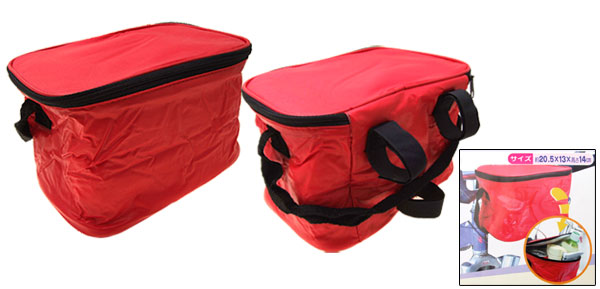 Folding Lunch Drink Bicycle Bike Rack Insulated Cooler Bag Red