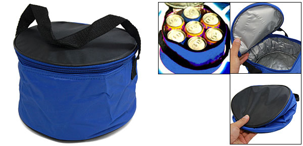 7 Can Insulated Lunch Drink Tote Cooler Bag Blue Black