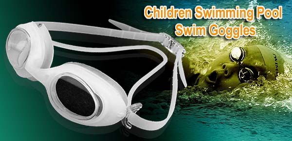 White Kids Silicone Swimming Pool Swim Goggles