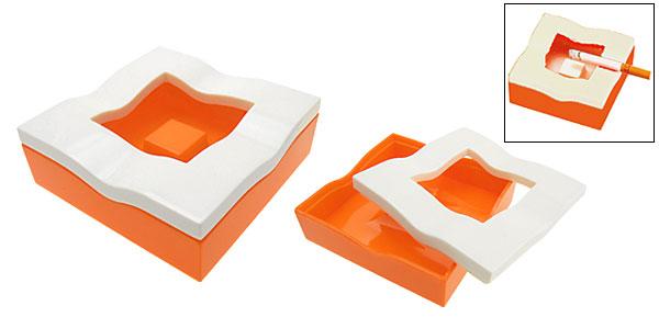White and Orange Wavy Square Cigar Cigarette Ashtray