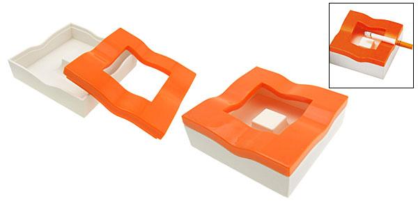 Orange and White Wavy Square Cigarette Cigar Ashtray