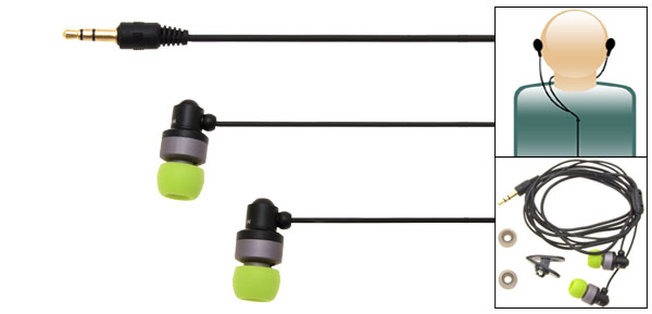 Noise Cancelling Green Stereo Microbon Earphones for MP3