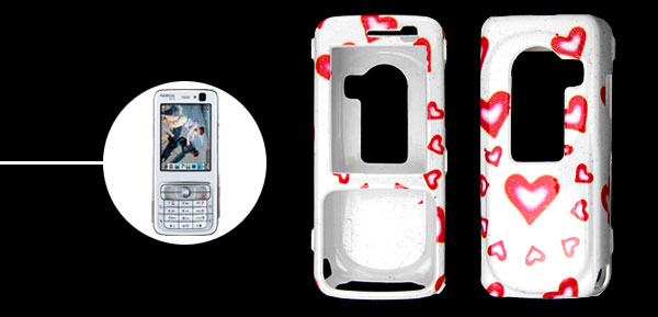 Romantic Heart Plastic Hard Case Cover for Nokia N73