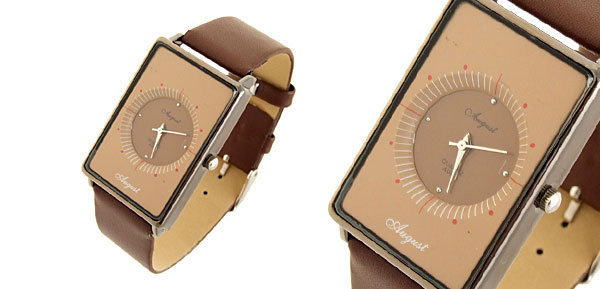 Quadrant Fashion Jewelry Rectangle Leather Lady Girl Quartz Watches Brown