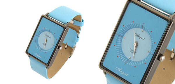 Quadrant  Fashion Jewelry Rectangle Leather Quartz Lady Girl Watches Blue
