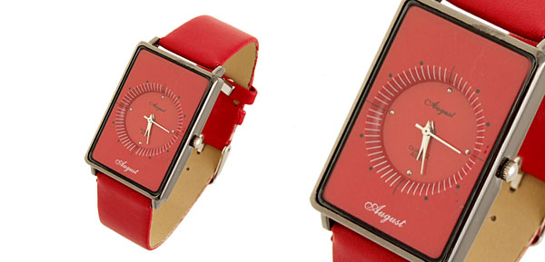 Quadrant  Fashion Jewelry Rectangle Leather Quartz Lady Girl Watches Red