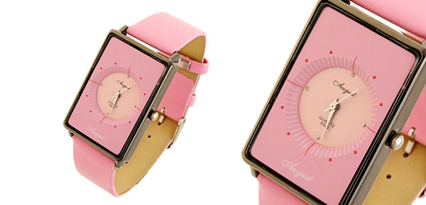 Quadrant Fashion Jewelry Rectangle Pink Leather Lady Girl Quartz Watches