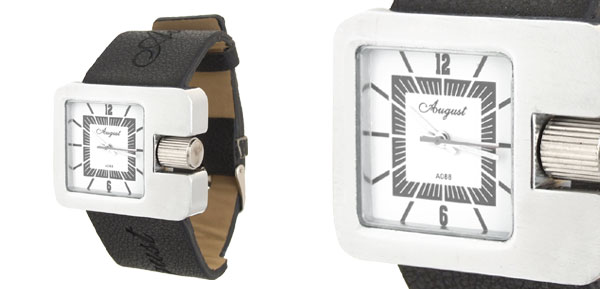 Wide Band Black Leather Silver Unisex Quartz Watch