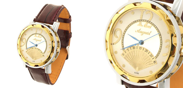 Fashion Unisex Novelty Brown Leather Golden Quartz Watch