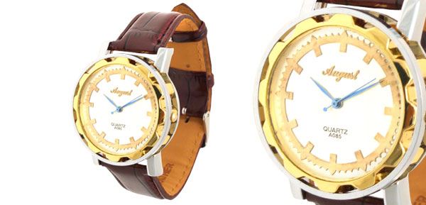 Fashion Unisex Classic Golden Leather Quartz Watch Brown