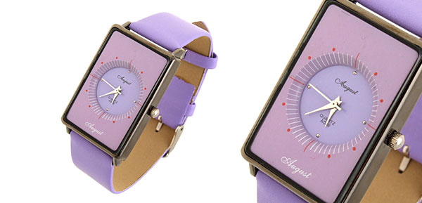 Quadrant  Fashion Jewelry Rectangle Leather Quartz Lady Girl Watches Purple