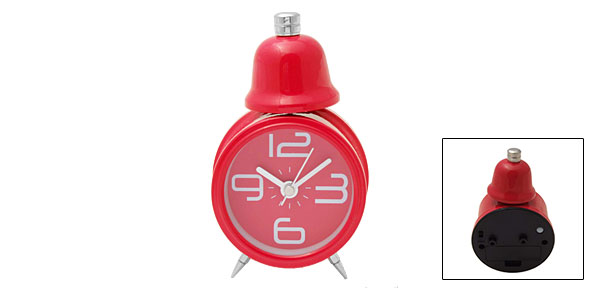 Cute Desktop Travel Single Bell Light Alarm Clock Red