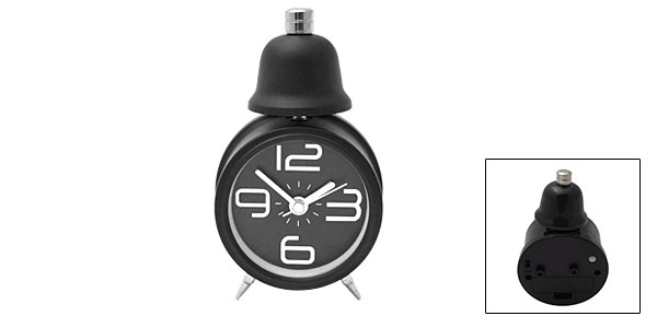 Cute Desktop Travel Single Bell Alarm Clock with Light Black