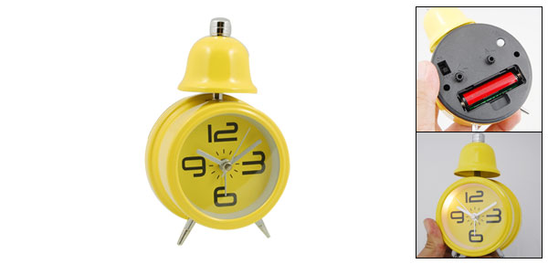 Cute Travel Desktop Single Bell Light Alarm Clock Yellow