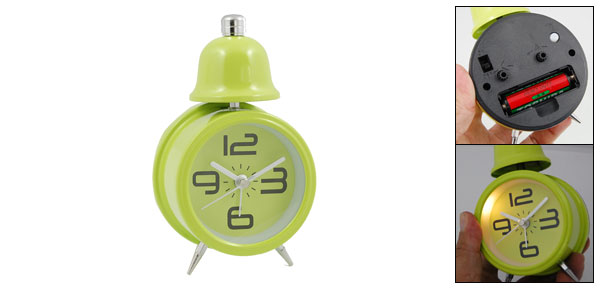 Green Desktop Travel Single Bell Light Alarm Clock