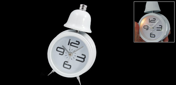 Cute Travel Desktop Single Bell Alarm Clock with Light White