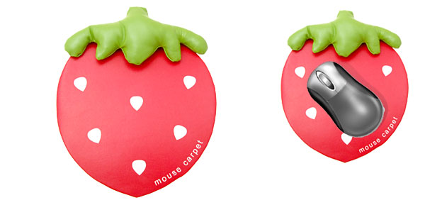 Lovely Strawberry Leather Computer PC Mouse Pad Wrist Rest