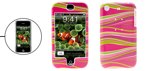 Purple Pink Wavilness Pattern Plastic Hard Case for iPhone 1st Generation
