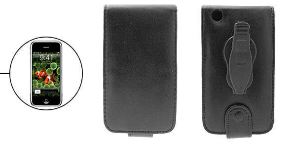 Luxury Black Leather Flip Case for iPod iPhone 1st Generation with Clip