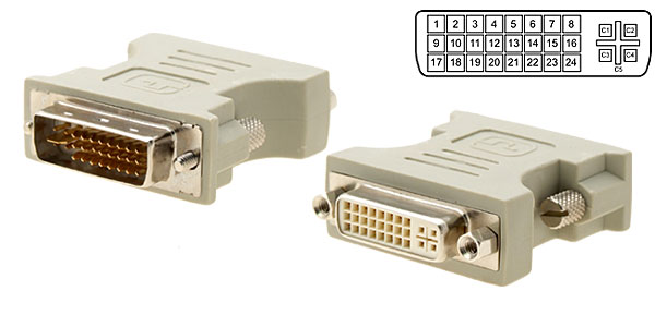 DVI-I Male to DVI-I Dual Link Female Converter Silver Plated Plug