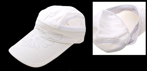Stylish Flower Mesh Trucker Hat Sun Visor Baseball Cap Milk White