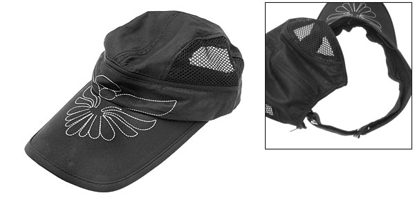 Stylish Flower Mesh Trucker Sun Visor Hat Baseball Cap Black