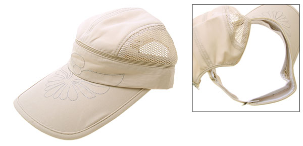 Fashion Flower Baseball Mesh Trucker Hat Sun Visor Cap Khaki