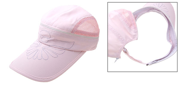 Stylish Flower Mesh Trucker Hat Sun Visor Baseball Cap Pink