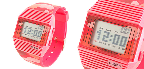 Water Resistant Multifunction Red Plastic Band Sports Girl Watch