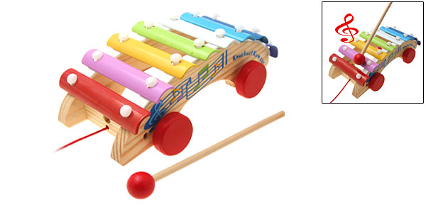 Colorful Wooden Xylophone Car Toy