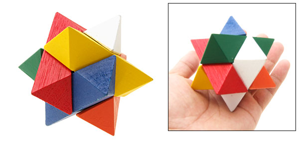 3D Polygon Wooden Brain Teaser Puzzle Vintage Toy