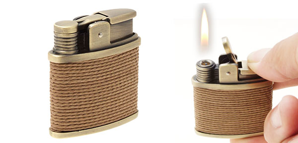Windproof String Wraped Vintage Butane Cigarette Cigar Lighter