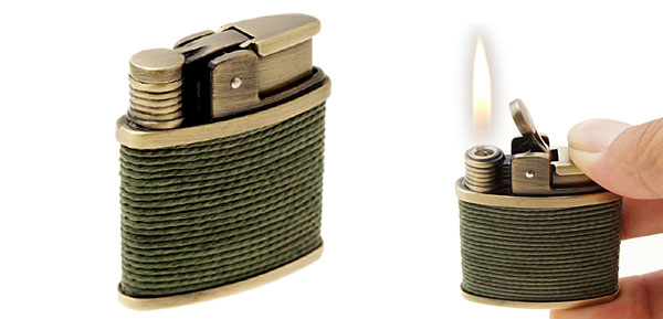 Windproof String Wraped Vintage Butane Cigar Cigarette Lighter