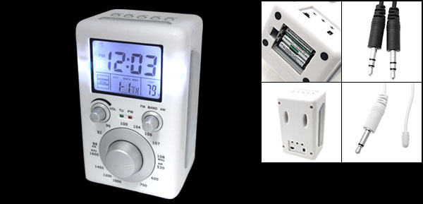 White Multifunctional Desktop Alarm Clock Radio with Amplifier