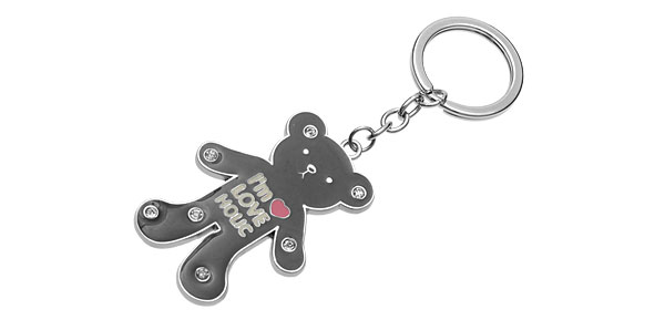 Cute Black Bear Pendant Metal Keychain Keyring Key Chain Ring