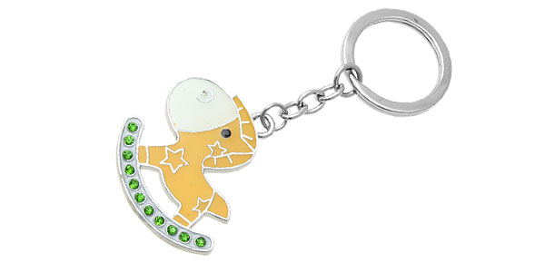 Rocking Horse Pendant Metal Keychain Keyring Key Ring Chain