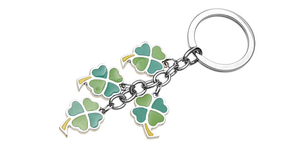 Key Chain Ring Keychain Keyring with Shamrocks Flower Pendant