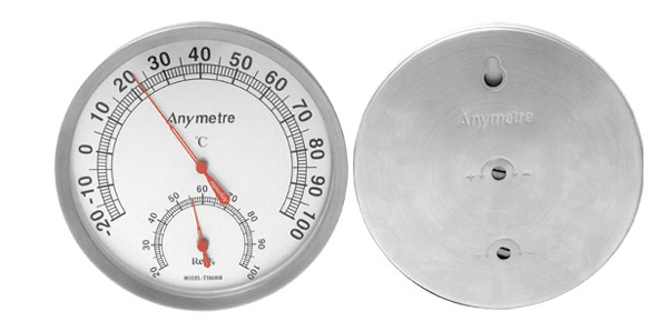 Indoors Outdoors Wall Mount Wireless Thermometer and Hygrometer Silver