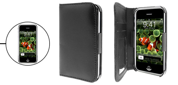 Soft Leather Case Black with Business Card Slot for Apple iPhone 1st Generation